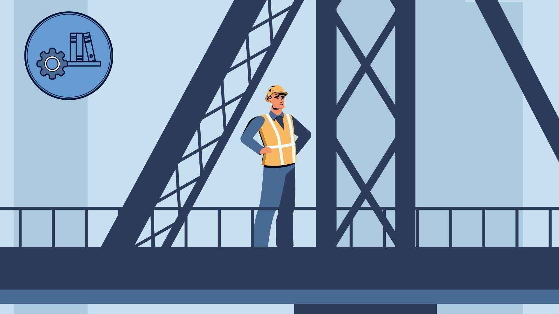 Man working in an animated educational video