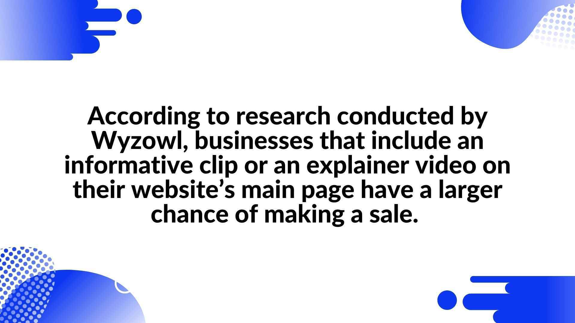 According to research conducted by Wyzowl, businesses that include an informative clip or an explainer video on their website's main page have a larger chance of making a sale. - Boost your online shop with an animated video