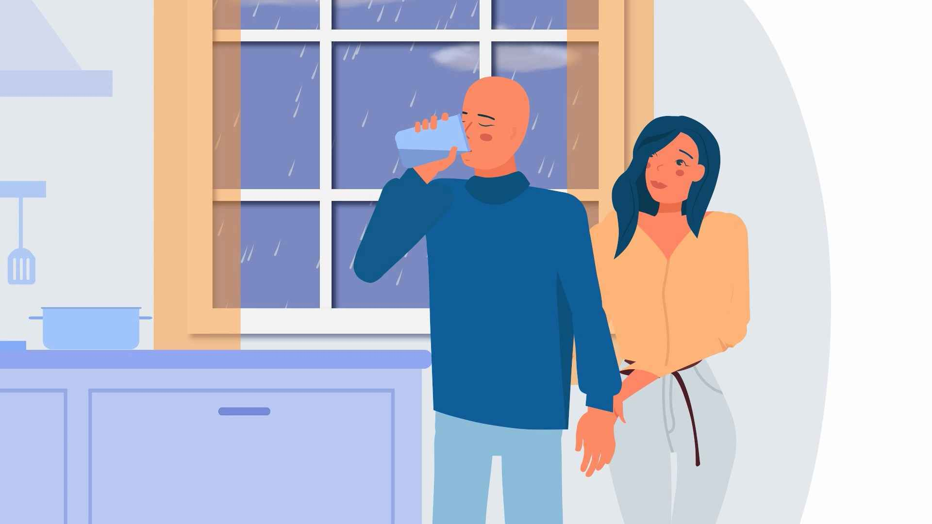 A man drinks a drink in an animated video