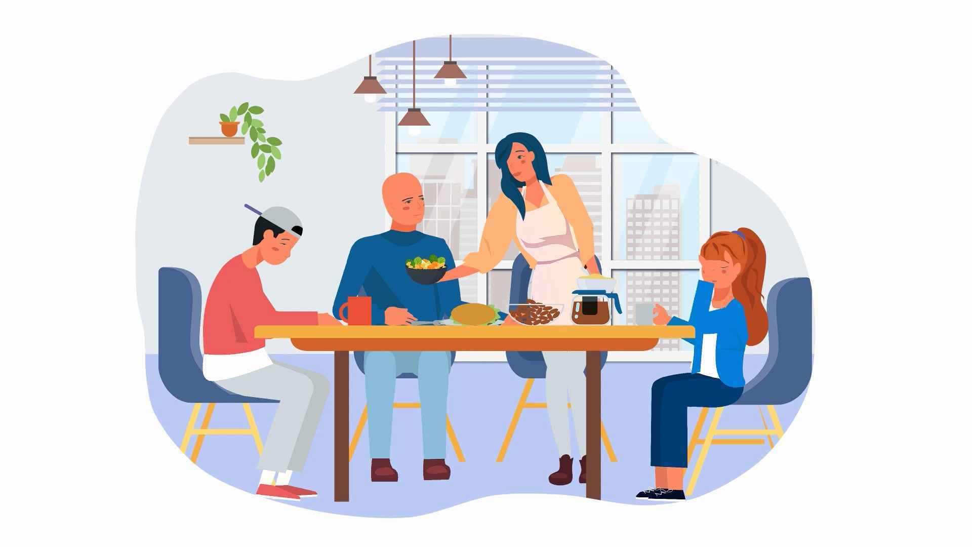 Wife serves food to husband - marketing animated video