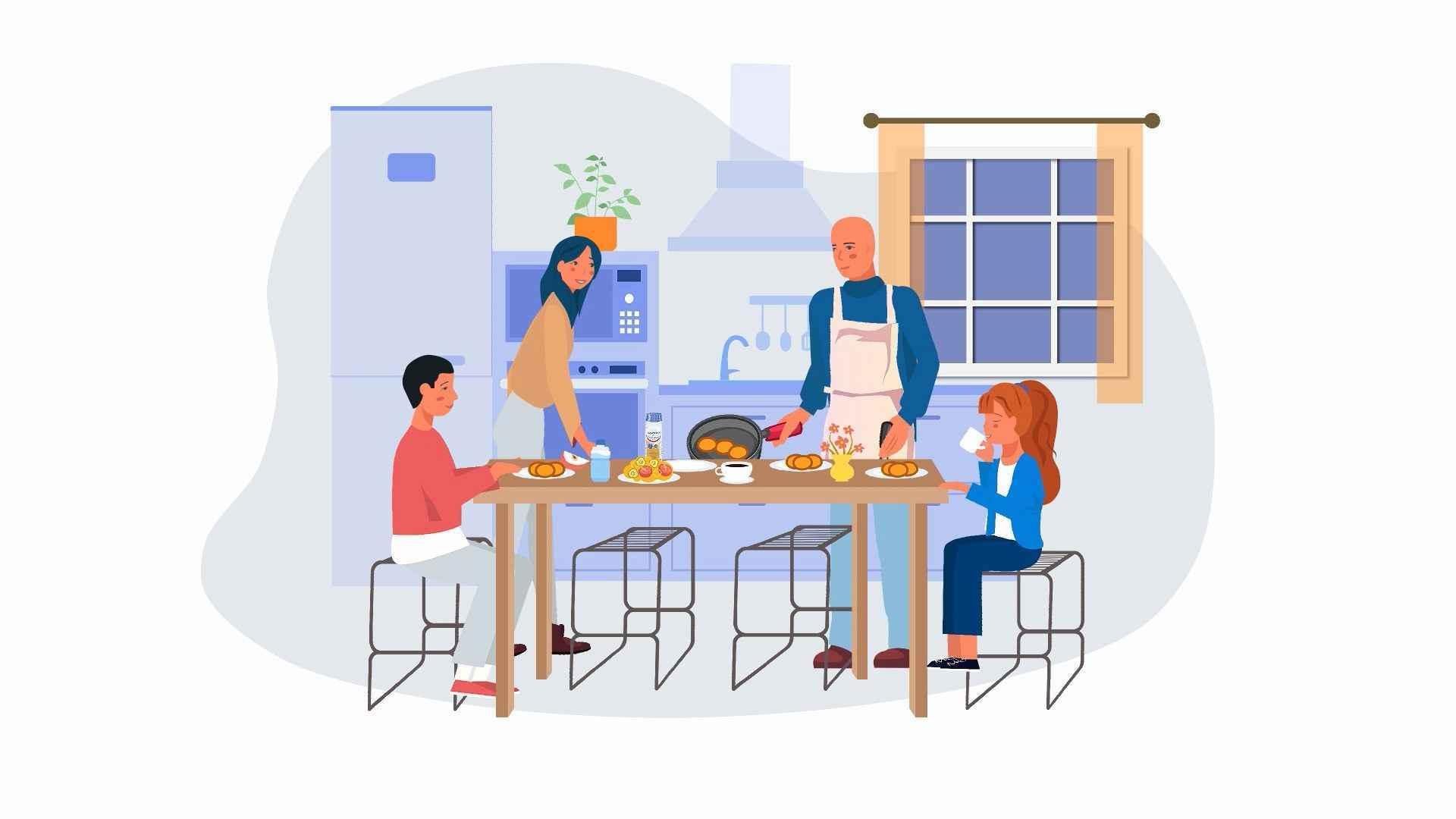 Family dinner in 2D animated video