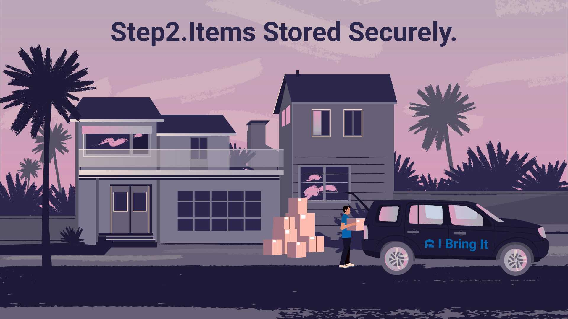 Delivery service takes away packed things - Animated Explainer Video