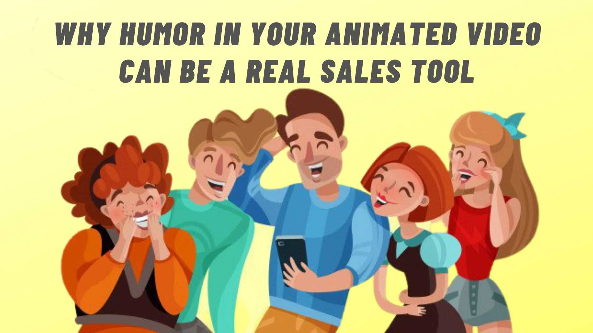 Watching funny videos, people laughing - animated illustration