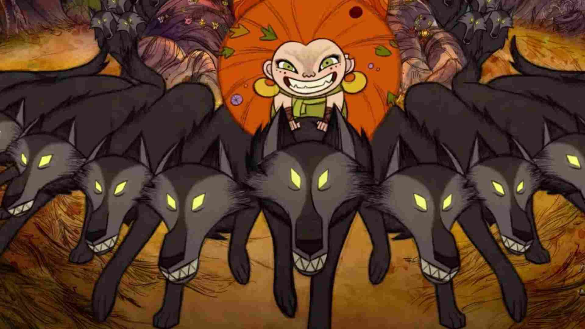 """Animation """"Wolfwalkers"""". Girl and wolves"""