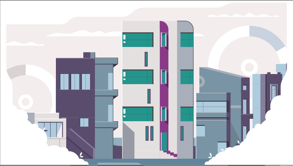 Animated picture of city houses