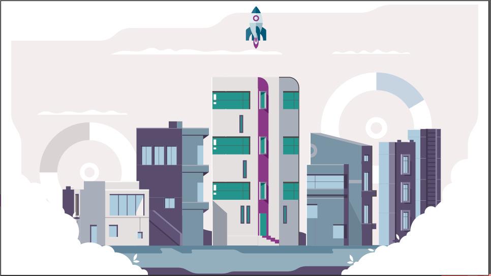Animated illustration - rocket launch