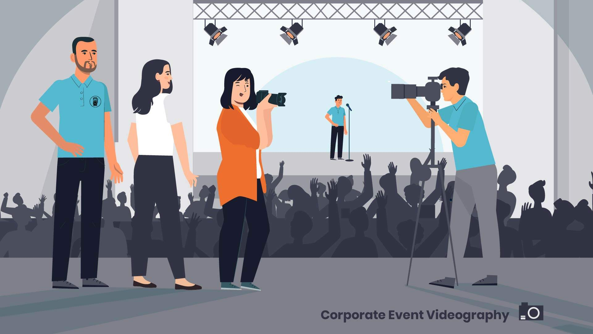 Professional photo and video shooting of the event - amination video with animation of the characters