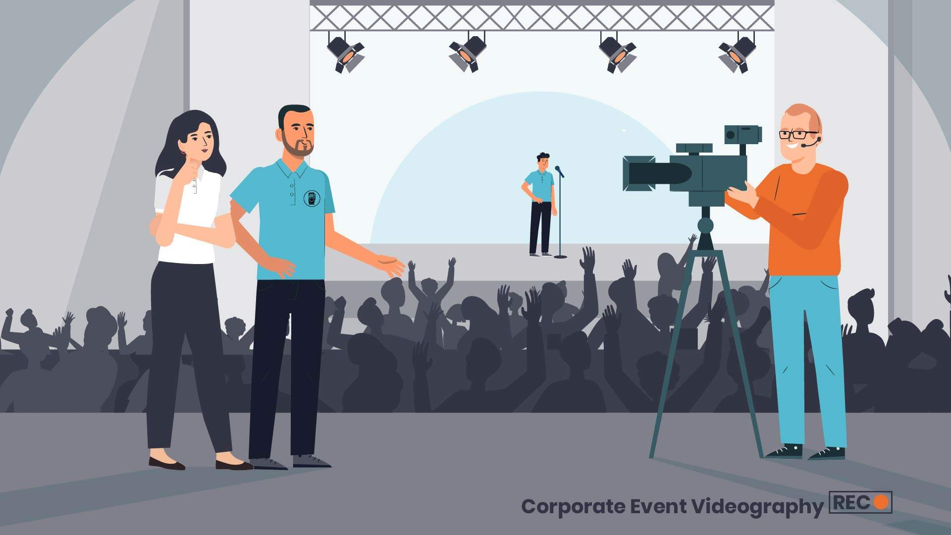Event video - 2D animated video about professional shooting of events