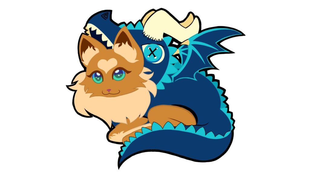 Animated character Chester (a dragon cat)