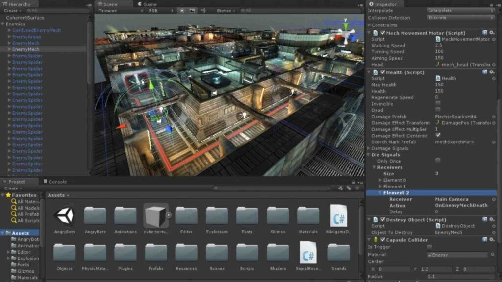 Screenshot from the Unity game animation software