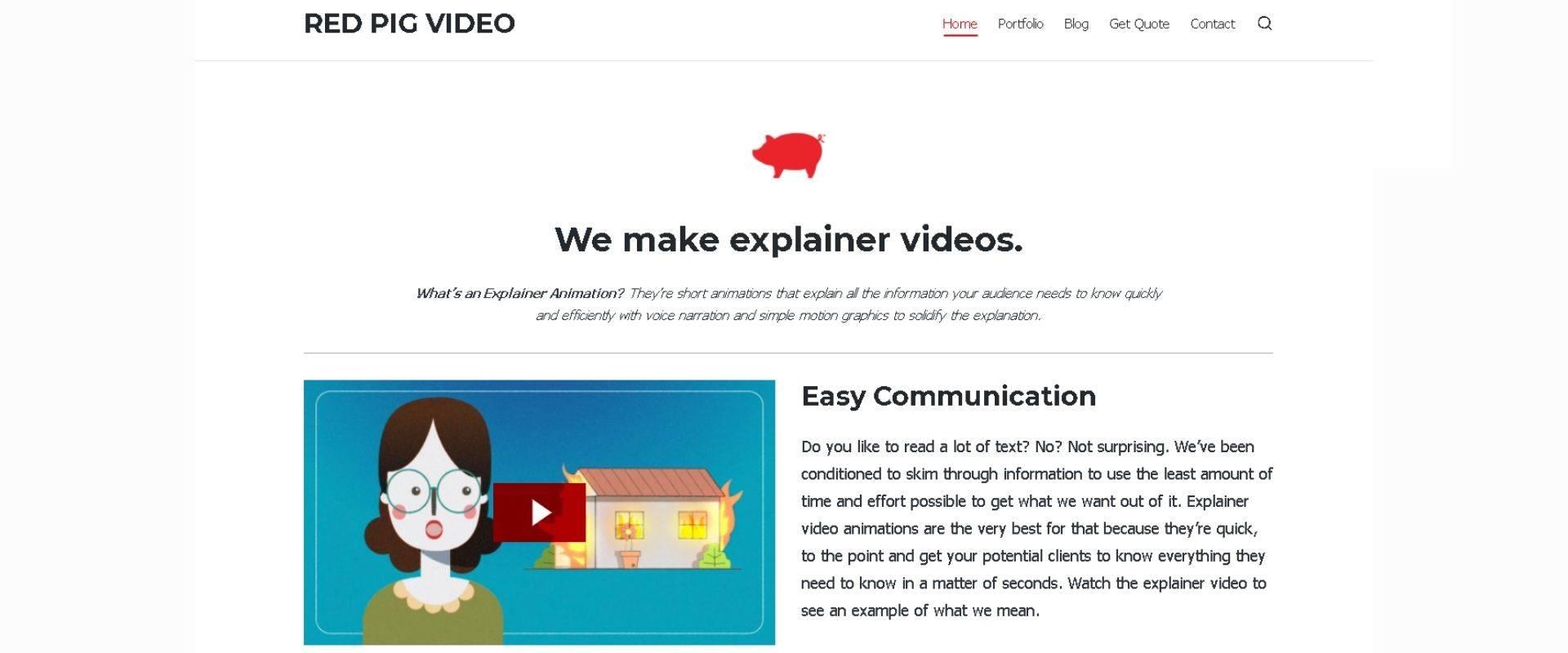 Red Pig Video - studio website
